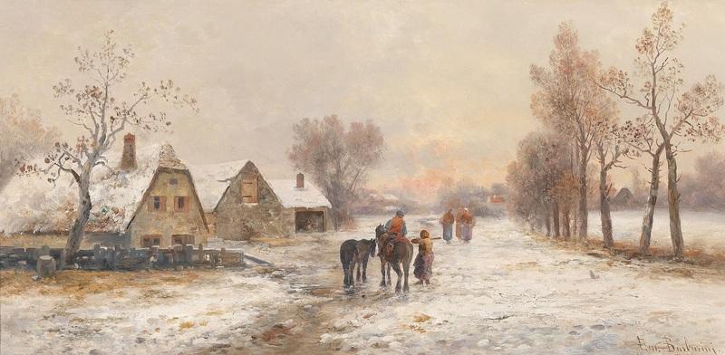 Деревня зимой  печать на холсте, натянут Барбарини Эмиль - фото 1