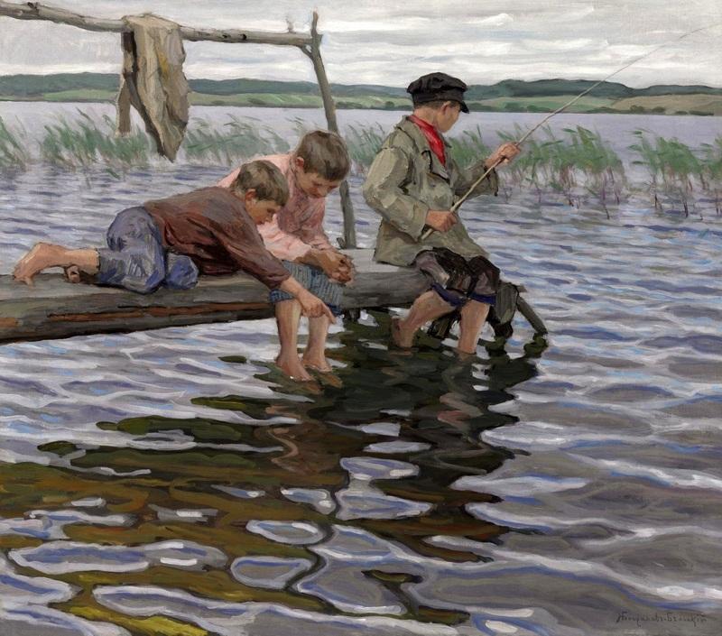 Рыбалка детей с мостков  печать на холсте, натянут Богданов-Бельский Николай - фото 1