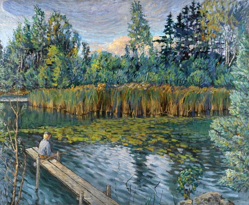 Рыболов  печать на холсте, натянут Богданов-Бельский Николай - фото 1