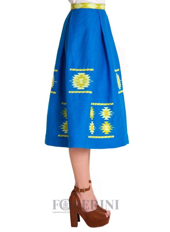 "Вышитая юбка ""Символ""  100% лен FOBERINI - фото 2"