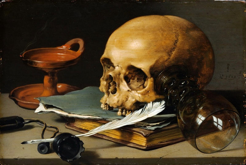 Натюрморт с черепом и писчим пером  печать на холсте, натянут Клас Питер - фото 1