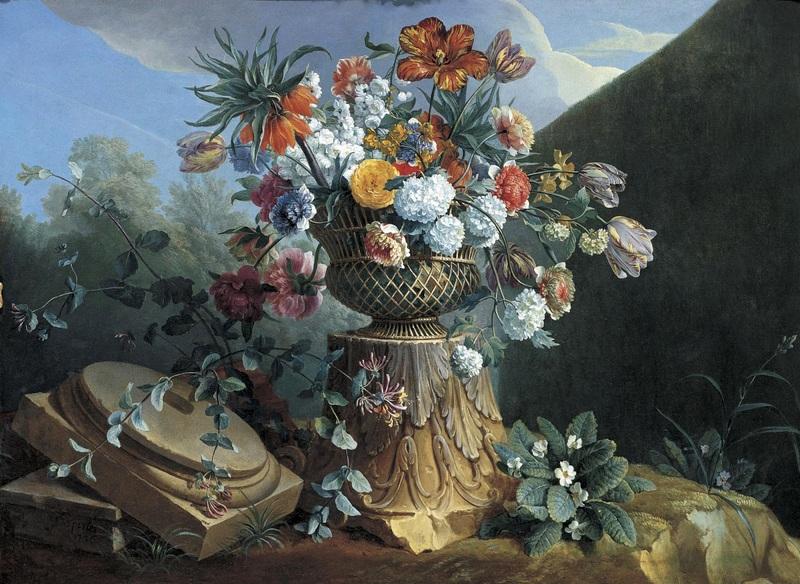 Натюрморт с цветами в урне  печать на холсте, натянут Депорт Александр Франсуа - фото 1
