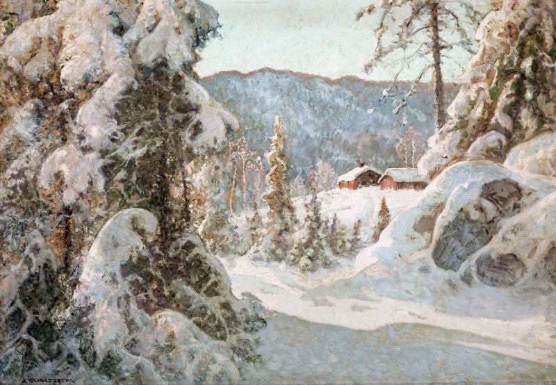 Зимний снежный пейзаж  печать на холсте, натянут Шультцберг Ансельм - фото 1