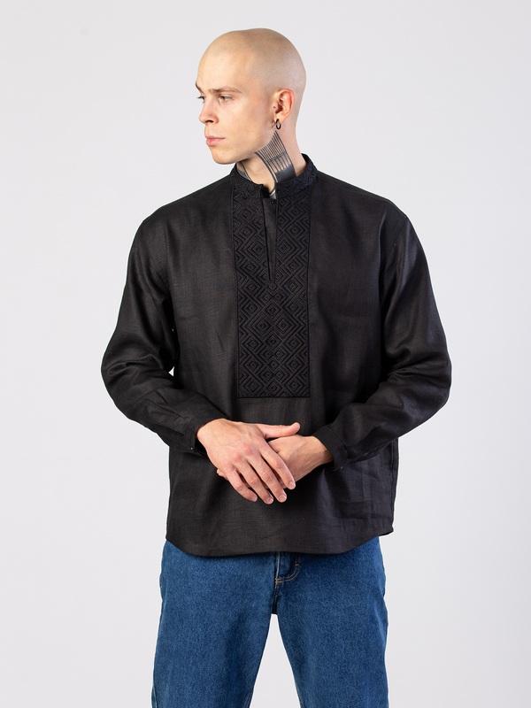 Мужская черная вышиванка с орнаментом в тон Apollo Black Черный Ткань - лен (черный) Тех ЕтноДім - фото 3
