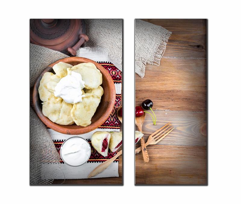 Украинские вареники с капустой, сыром и вишнями №1  печать на холсте, натянут UkrainArt - фото 1