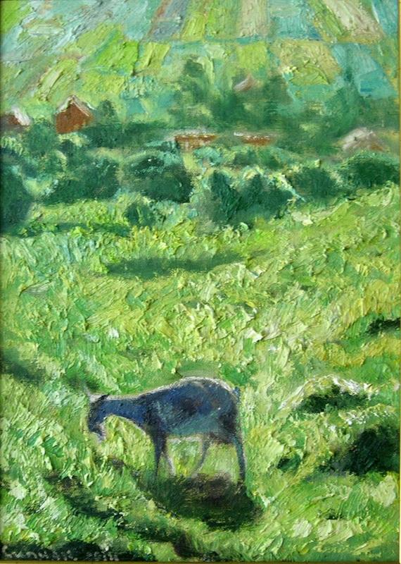 Пейзаж с козой №2  холст, масло Сыпняк Петр - фото 1