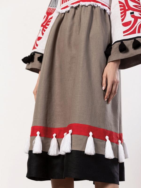 Льняное платье с аппликацией на груди Icon Red Белый Ткань - лен 100% Вышивка ЕтноДім - фото 6