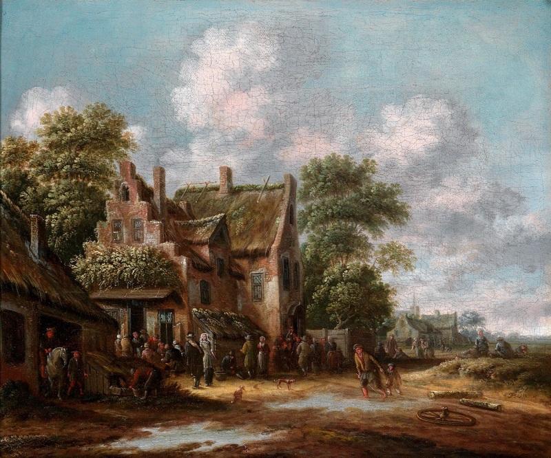 Вид деревенской улицы с таверной и крестьянами  печать на холсте, натянут Хереманс Томас - фото 1
