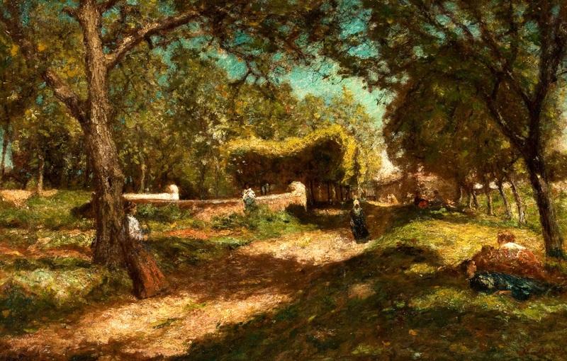Пейзаж, оживленный персонажами  печать на холсте, натянут Монтичелли Адольф Жозеф Тома - фото 1