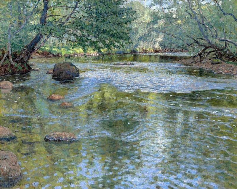 Река  печать на холсте, натянут Богданов-Бельский Николай - фото 1