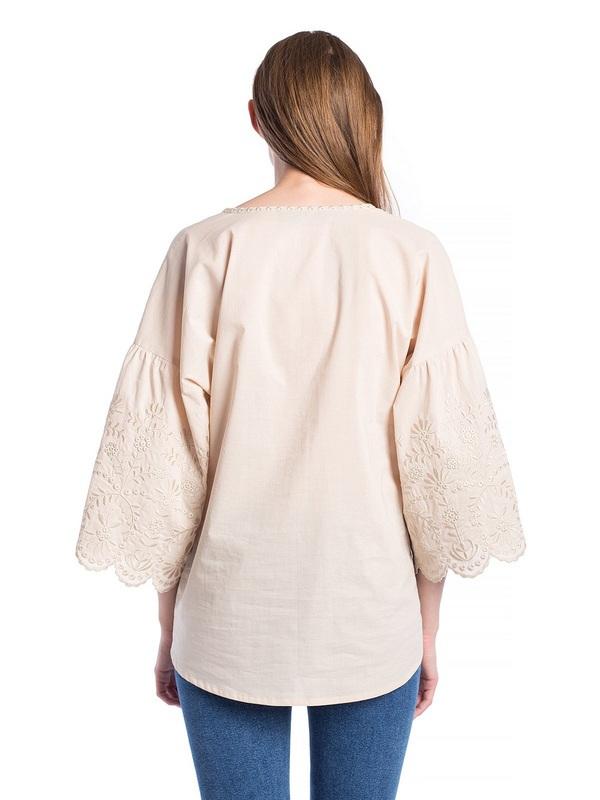 Бежевая льняная блузка с бахромой Ribbon Beige Бежевый  Цвет – бежевый. Ткань – л ЕтноДім - фото 3