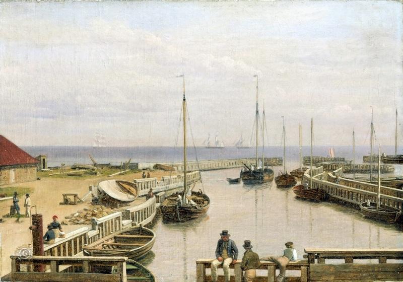 Порт в Драгоре, Дания  печать на холсте, натянут Эккерсберг Кристоффер Вильхельм - фото 1