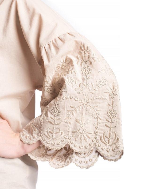Бежевая льняная блузка с бахромой Ribbon Beige Бежевый  Цвет – бежевый. Ткань – л ЕтноДім - фото 5