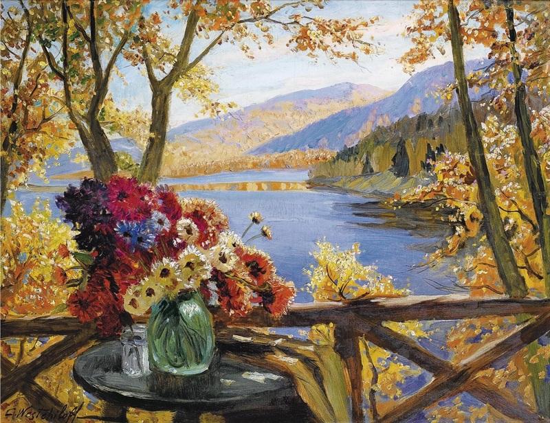 Ваза с цветами  печать на холсте, натянут Вещилов Константин - фото 1