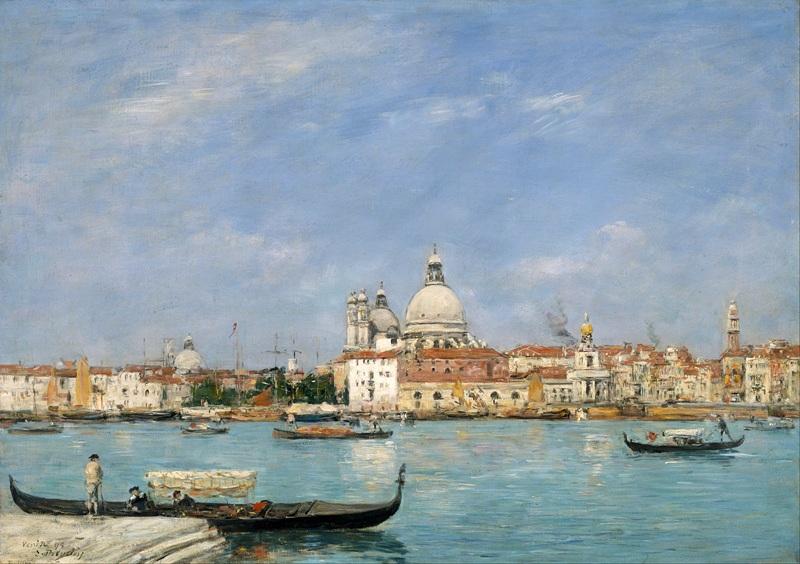 Венеция, Санта-Мария-делла-Салюте от Сан-Джорджио  печать на холсте, натянут Буден Эжен - фото 1