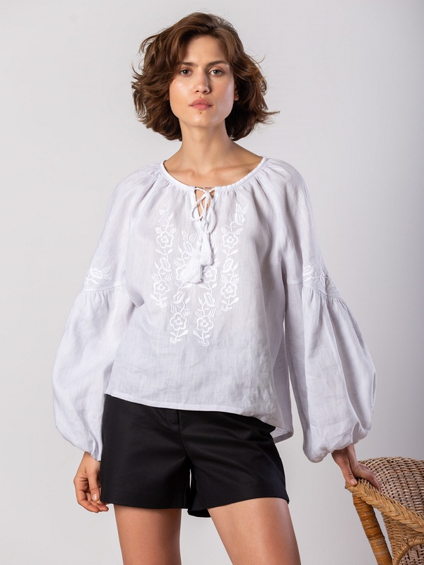 Белая блузка с белым растительным орнаментом Pure Белый Цвет - белый Ткань - лен ЕтноДім - фото 4