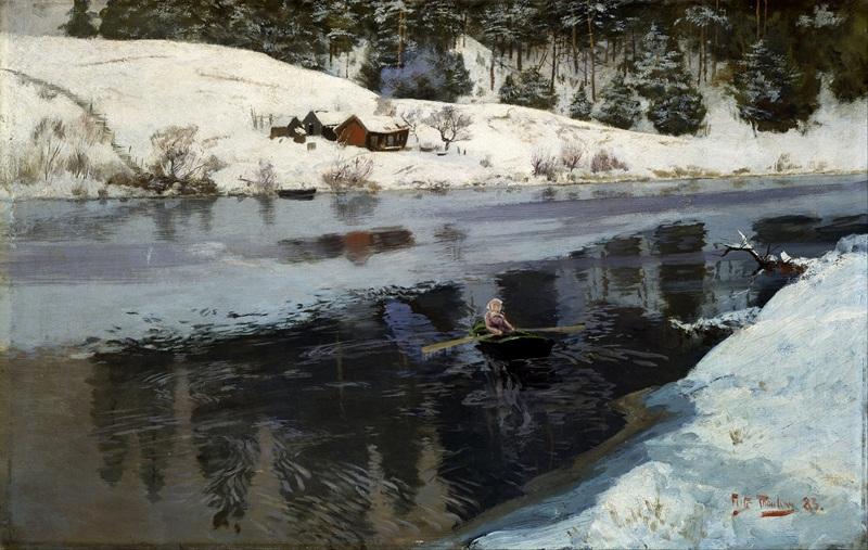 Река Симоа зимой  печать на холсте, натянут Таулов Фриц - фото 1