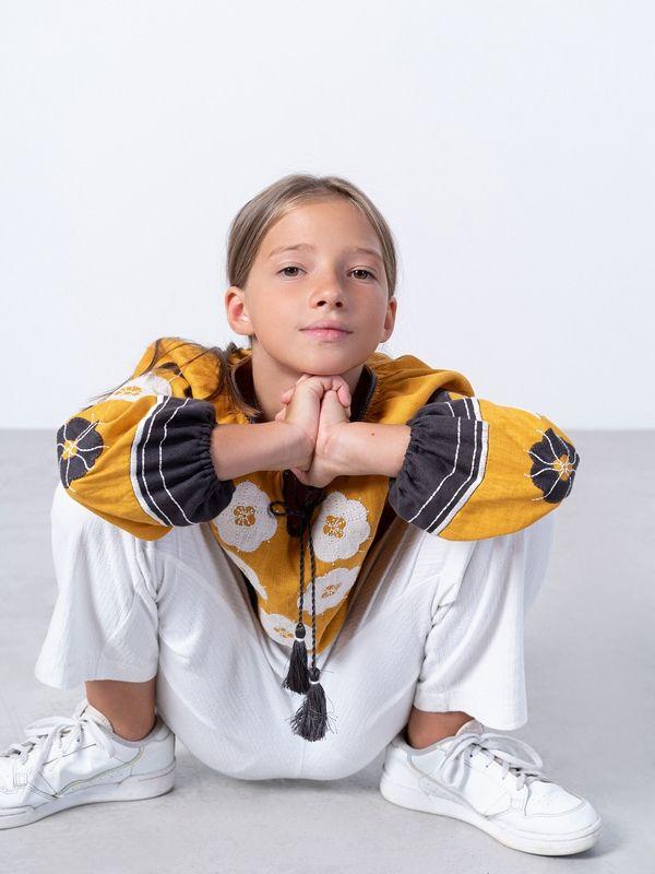 Желтая вышиванка для девочки Sunny Kids Желтый Ткань - лен Техника испо ЕтноДім - фото 3