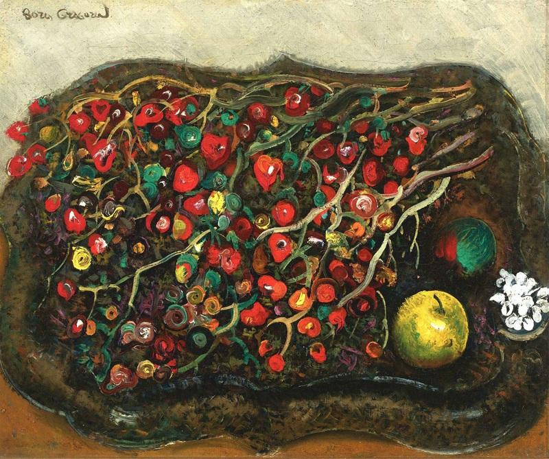 Натюрморт с ягодами и яблоками  печать на холсте, натянут Григорьев Борис - фото 1