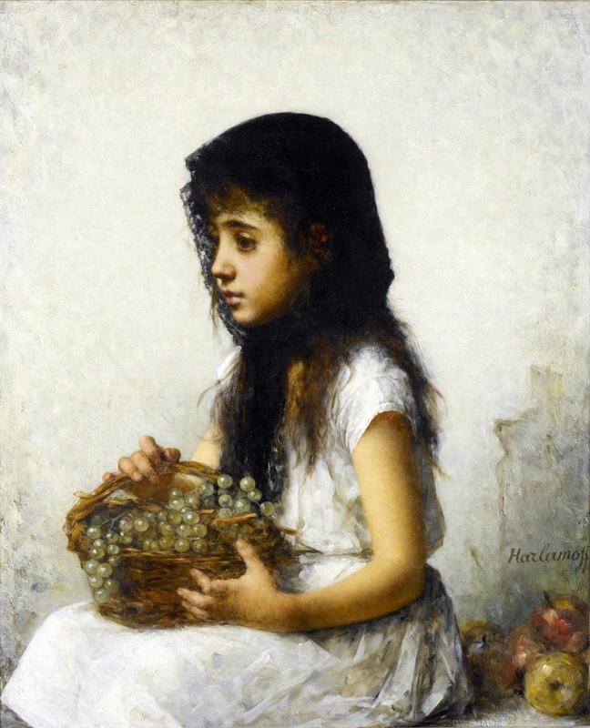 Девочка с виноградом  печать на холсте, натянут Харламов Алексей - фото 1
