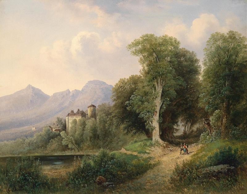 Вид замка Матцен  печать на холсте, натянут Барбарини Эмиль - фото 1
