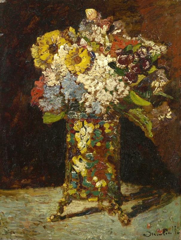 Цветочный натюрморт  печать на холсте, натянут Монтичелли Адольф Жозеф Тома - фото 1
