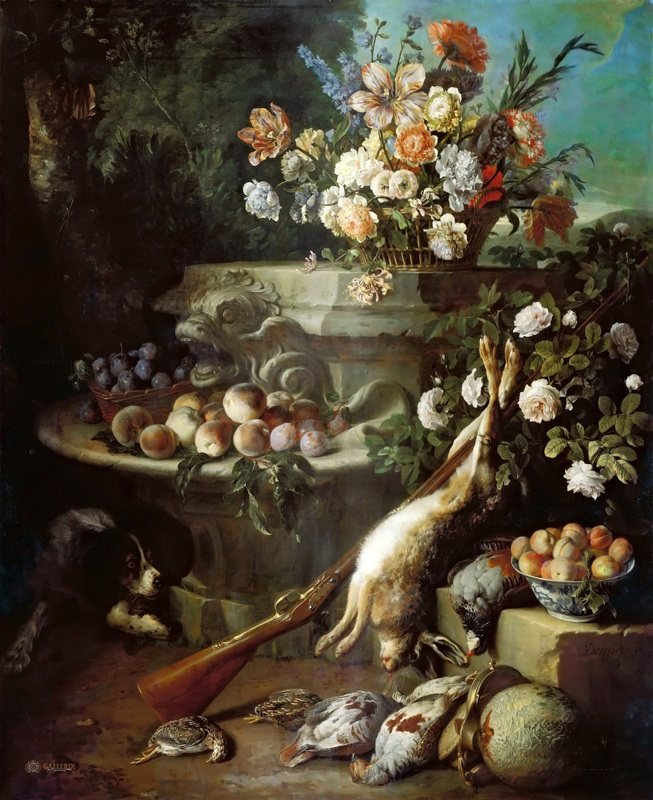 Натюрморт с битой дичью, фруктами, цветами и собакой  печать на холсте, натянут Депорт Александр Франсуа - фото 1