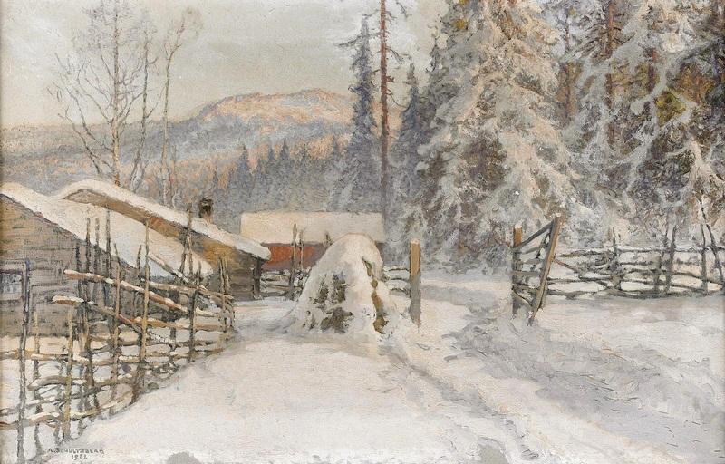 Зимний пейзаж с двором - Филипстадс Бергслаг  печать на холсте, натянут Шультцберг Ансельм - фото 1