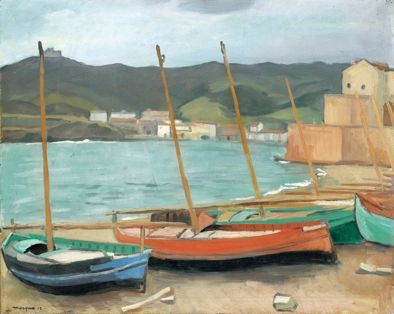 Лодки в Коллиуре в пасмурный день  печать на холсте, натянут Марке Альбер - фото 1