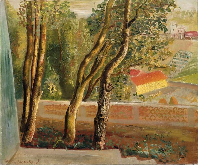 Вид из окна художника  печать на холсте, натянут Григорьев Борис - фото 1