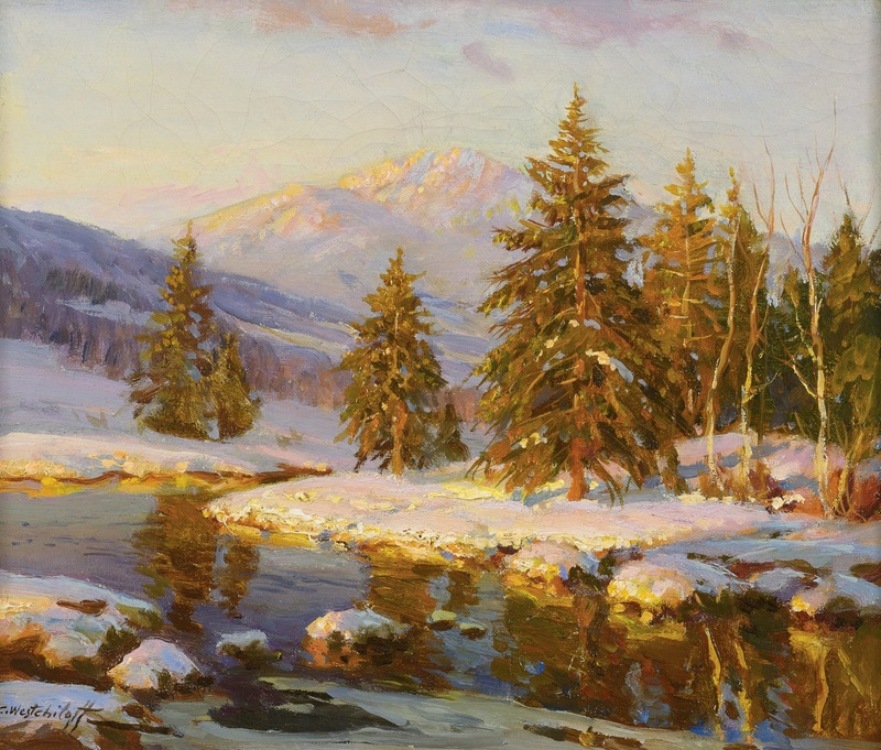 Зимний закат  печать на холсте, натянут Вещилов Константин - фото 1