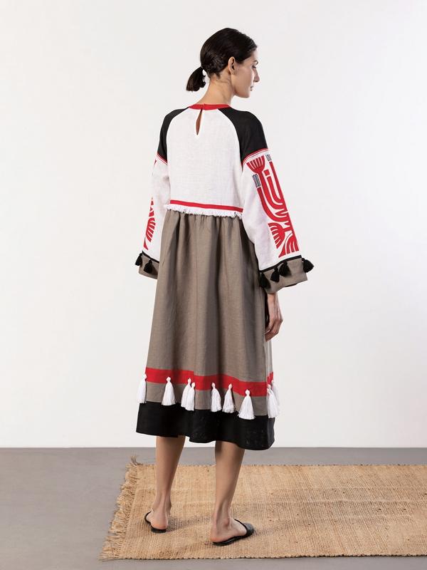 Льняное платье с аппликацией на груди Icon Red Белый Ткань - лен 100% Вышивка ЕтноДім - фото 8