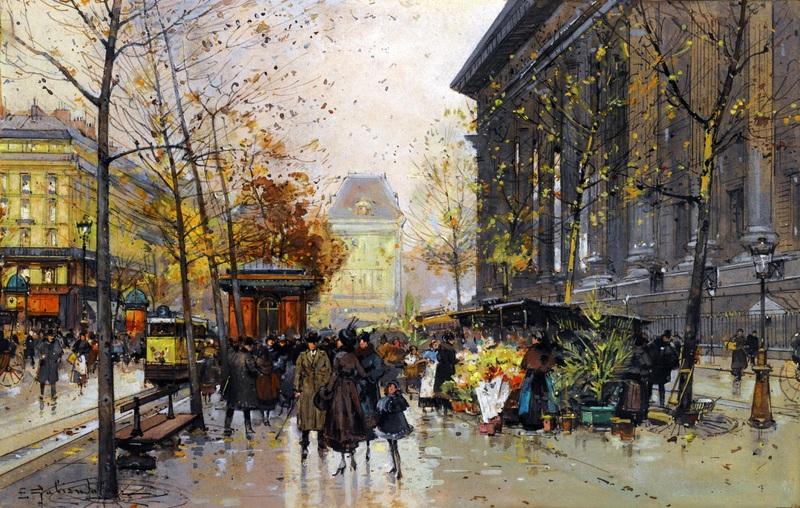 Цветочный рынок площади Мадлен  печать на холсте, натянут Гальен-Лалу Эжен - фото 1