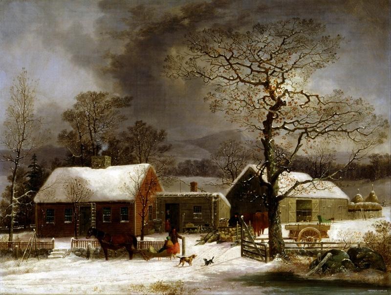 Зимняя сцена в Нью-Хейвене, Коннектикут  печать на холсте, натянут Дуррие Джордж Генри - фото 1