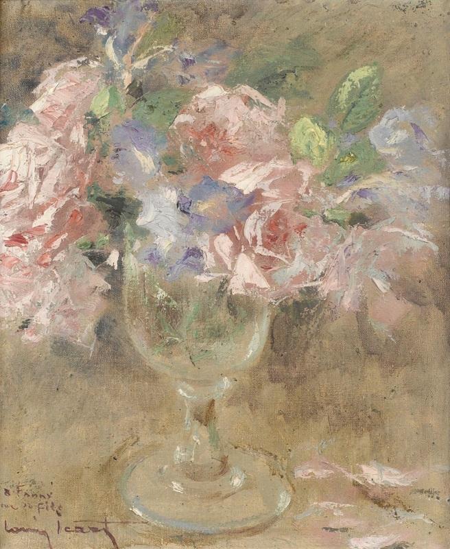 Розы и ирисы  печать на холсте, натянут Икар Луи - фото 1