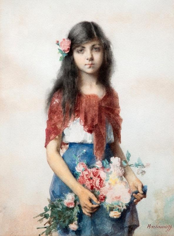 Девушка с цветами  печать на холсте, натянут Харламов Алексей - фото 1