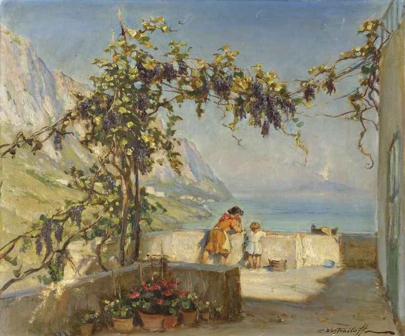 Амальфи с видом на Везувий  печать на холсте, натянут Вещилов Константин - фото 1