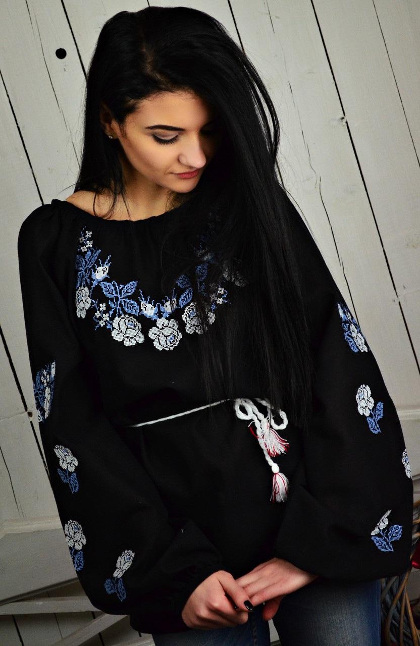 Женская вышитая блуза UA-13  Домотканое полотно. Вышив Бандерівка - фото 4