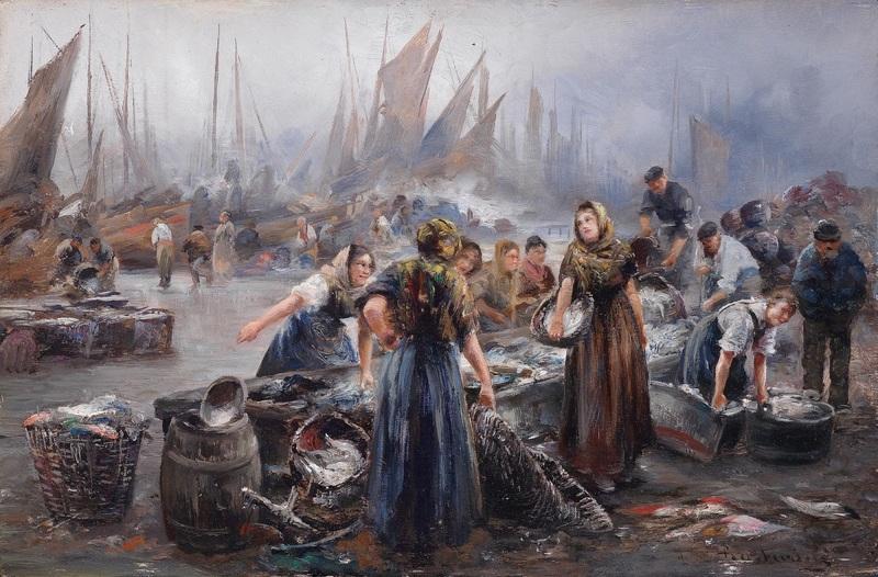 На рыбном рынке  печать на холсте, натянут Барбарини Эмиль - фото 1