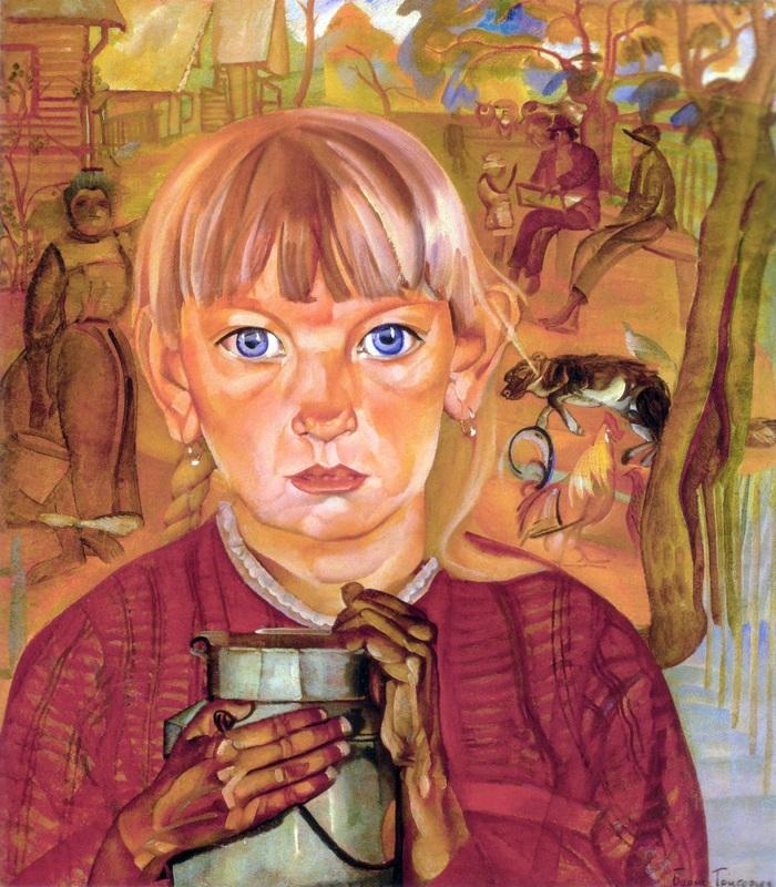 Девочка с бидоном  печать на холсте, натянут Григорьев Борис - фото 1