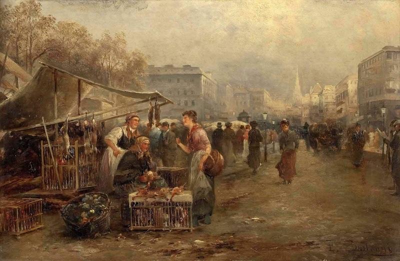 Торговля на рынке в Вене  печать на холсте, натянут Барбарини Эмиль - фото 1