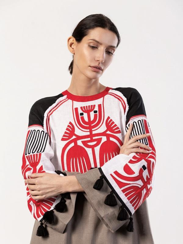 Льняное платье с аппликацией на груди Icon Red Белый Ткань - лен 100% Вышивка ЕтноДім - фото 5
