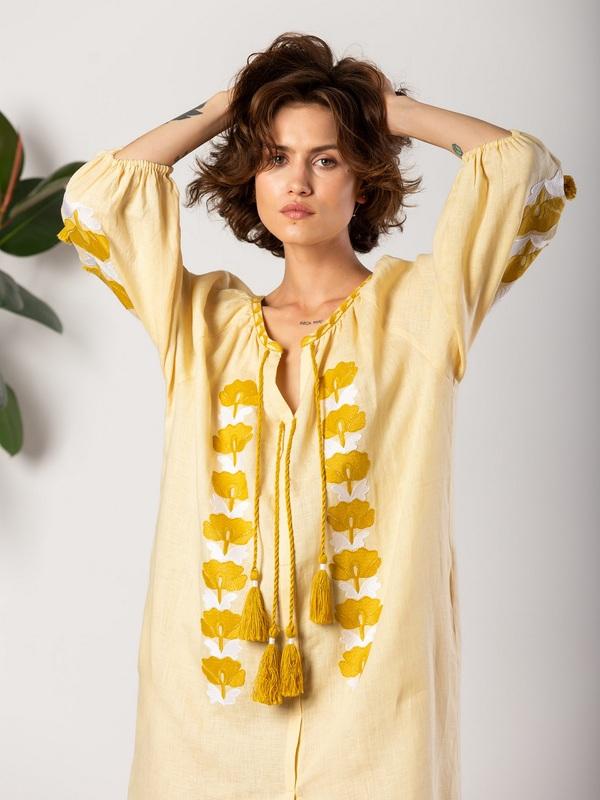 Легкое желтое платье с вышивкой Jawa Желтый Ткань - лен 100% Вышивка ЕтноДім - фото 5