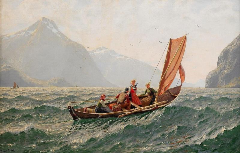 Фьорд с парусной лодкой  печать на холсте, натянут Даль Ханс - фото 1