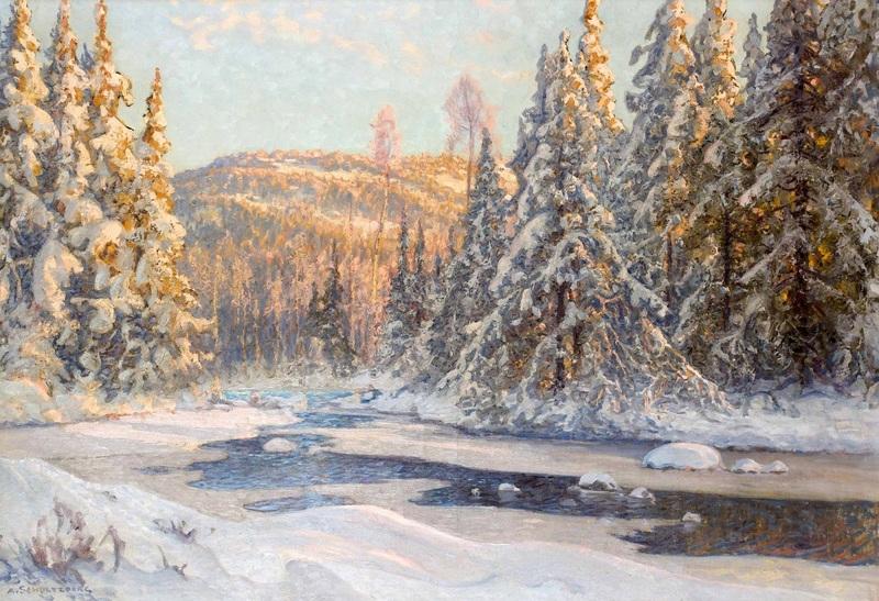 Зимний пейзаж в Даларне  печать на холсте, натянут Шультцберг Ансельм - фото 1