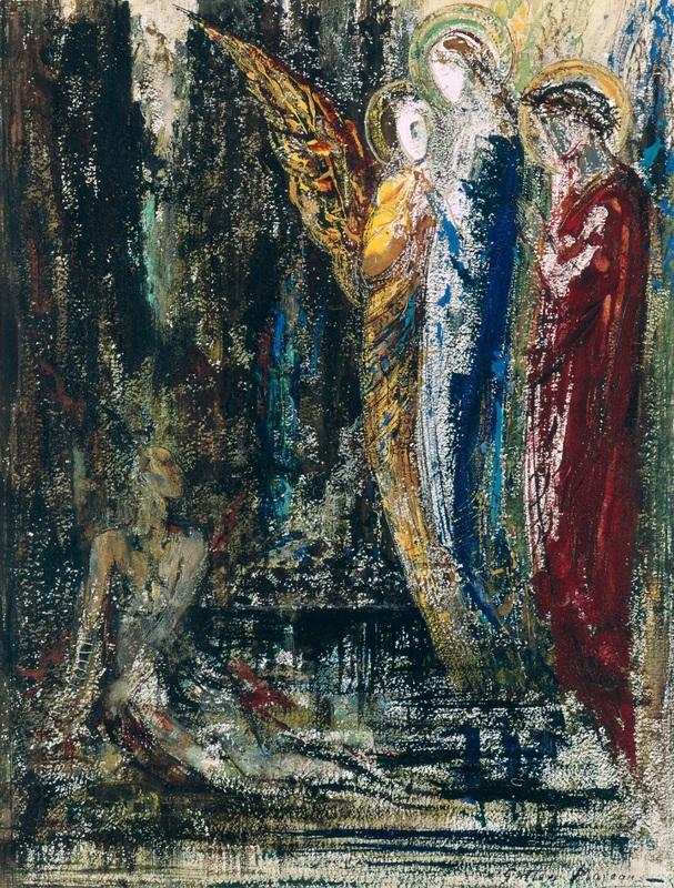 Иов и ангелы  печать на холсте, натянут Моро Гюстав - фото 1