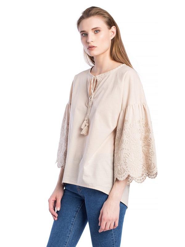 Бежевая льняная блузка с бахромой Ribbon Beige Бежевый  Цвет – бежевый. Ткань – л ЕтноДім - фото 2