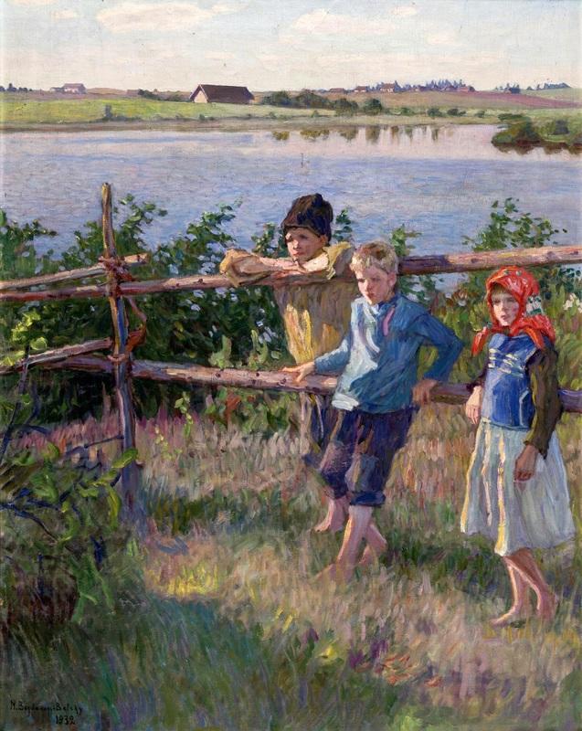 Дети на берегу озера  печать на холсте, натянут Богданов-Бельский Николай - фото 1