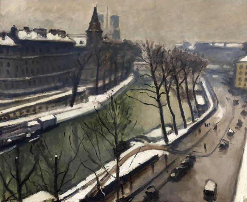 Париж, Набережная Великих Августинцев под снегом  печать на холсте, натянут Марке Альбер - фото 1