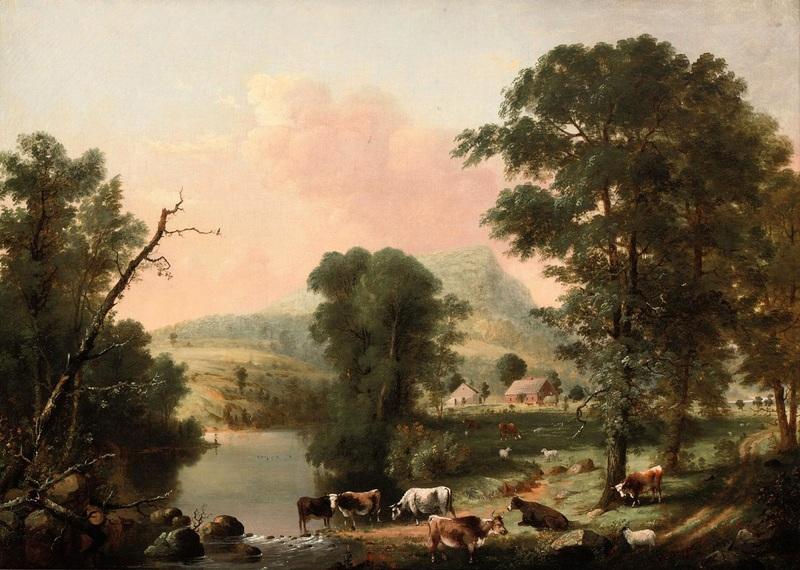 Стадо, отдыхающее у реки  печать на холсте, натянут Дуррие Джордж Генри - фото 1